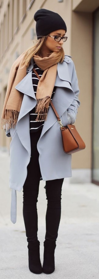 How to wear: black suede ankle boots, black skinny jeans, black and white horizontal striped long sleeve t-shirt, light violet coat