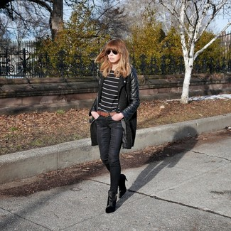 How to wear: black suede ankle boots, black skinny jeans, black and white horizontal striped long sleeve t-shirt, black leather coat
