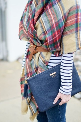 How to wear: navy leather clutch, blue skinny jeans, white and navy horizontal striped long sleeve t-shirt, multi colored check shawl