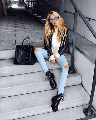 How to wear: black leather lace-up flat boots, light blue ripped skinny jeans, white oversized sweater, black quilted leather biker jacket