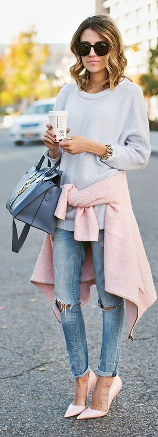 How to wear: pink leather pumps, light blue ripped skinny jeans, light blue oversized sweater, pink wool biker jacket