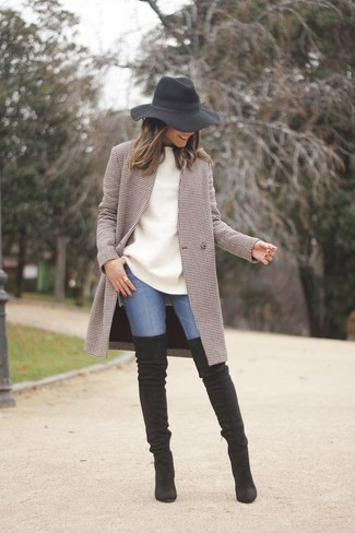 How to wear: black suede over the knee boots, blue skinny jeans, white oversized sweater, brown check coat