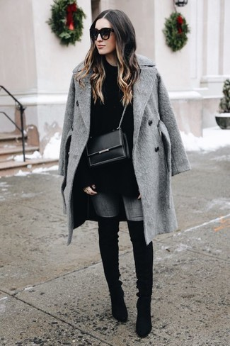 How to wear: black suede over the knee boots, grey skinny jeans, black oversized sweater, grey coat
