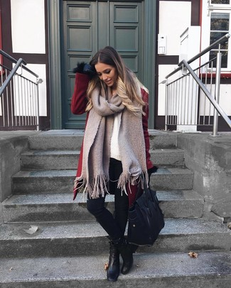 How to wear: black leather ankle boots, black skinny jeans, white knit oversized sweater, burgundy coat