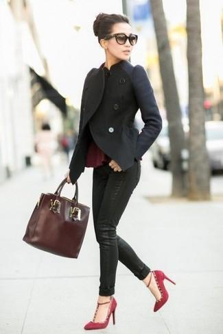 How to wear: burgundy suede pumps, black skinny jeans, burgundy peplum top, black wool biker jacket