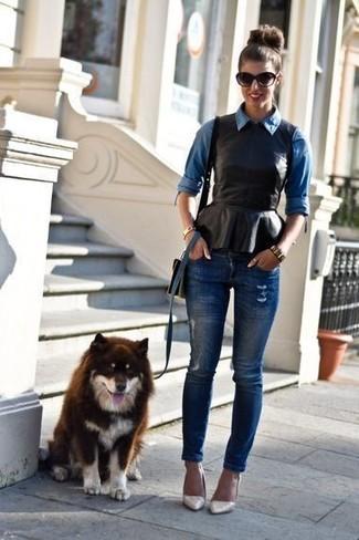 How to wear: beige leather pumps, navy ripped skinny jeans, black leather peplum top, blue denim shirt