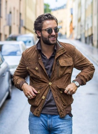 How to wear: dark brown woven leather belt, blue skinny jeans, charcoal polo, brown suede bomber jacket