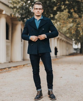 How to wear: black leather brogue boots, navy skinny jeans, teal polo neck sweater, navy pea coat