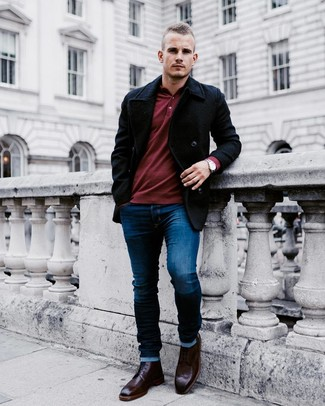 How to wear: burgundy leather brogue boots, navy skinny jeans, burgundy polo neck sweater, black pea coat