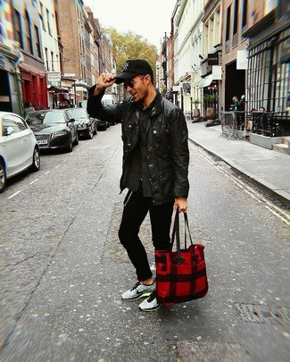 How to wear: grey athletic shoes, black skinny jeans, charcoal shirt jacket, black leather barn jacket