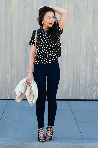 How to wear: black suede gladiator sandals, black skinny jeans, black and white polka dot short sleeve blouse, beige blazer