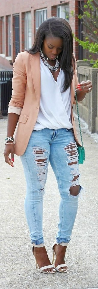 How to wear: white leather heeled sandals, light blue ripped skinny jeans, white silk sleeveless top, pink blazer