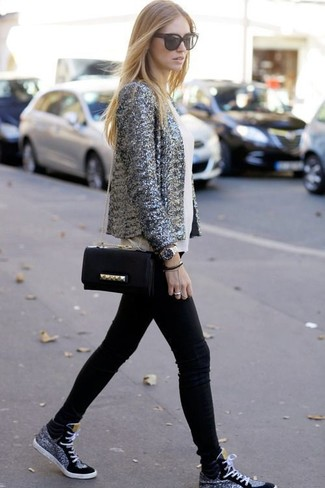How to wear: black high top sneakers, black skinny jeans, white silk sleeveless top, grey sequin blazer