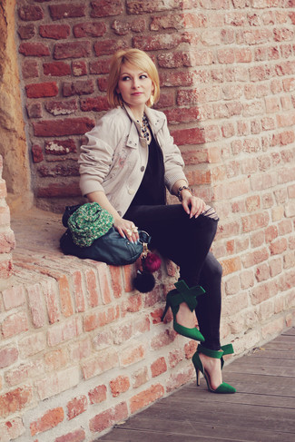 How to wear: green suede pumps, charcoal skinny jeans, black silk sleeveless top, beige bomber jacket