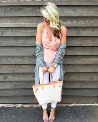 How to wear: grey leather heeled sandals, white skinny jeans, pink ruffle sleeveless top, grey open cardigan