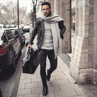 How to wear: black leather chelsea boots, black skinny jeans, grey sweatshirt, charcoal leather biker jacket
