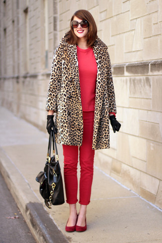 How to wear: red suede ballerina shoes, red skinny jeans, red sweatshirt, tan leopard fur coat