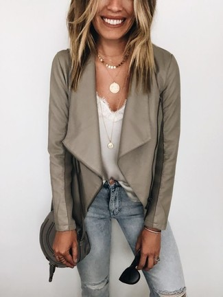 How to wear: charcoal leather crossbody bag, light blue ripped skinny jeans, white lace tank, grey leather biker jacket