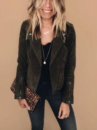 How to wear: tan leopard suede clutch, black skinny jeans, black lace tank, dark brown suede biker jacket