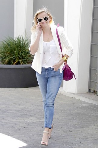 How to wear: beige leather heeled sandals, blue skinny jeans, white silk tank, white blazer