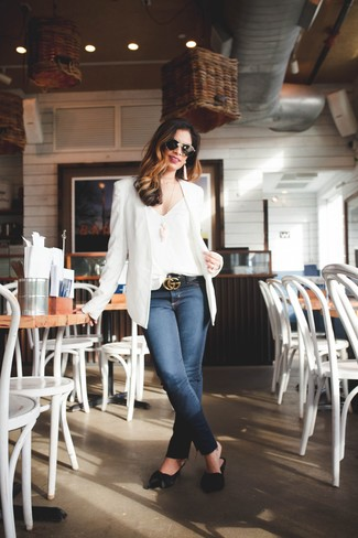 How to wear: black leather mules, navy skinny jeans, white silk tank, white blazer