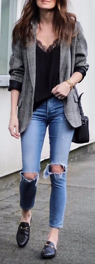 How to wear: black leather loafers, blue ripped skinny jeans, black lace tank, grey plaid blazer