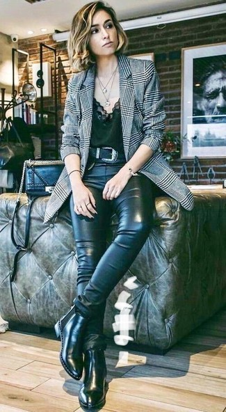 How to Wear Black Leather Chelsea Boots For Women: One of the coolest ways to style out a grey plaid blazer is to marry it with black leather skinny jeans. Black leather chelsea boots are an effective way to punch up this outfit.