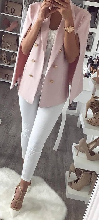 How to Wear a Hot Pink Cape Blazer: For a relaxed look, try pairing a hot pink cape blazer with white skinny jeans — these two items go perfectly well together. For a smarter aesthetic, complete your look with white studded leather pumps.