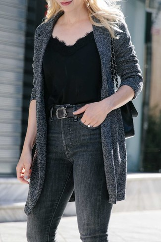 How to Wear a Black Leather Satchel Bag: This absolutely chic off-duty outfit is so simple: a charcoal knit coat and a black leather satchel bag.