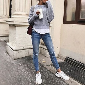 How to wear: white low top sneakers, blue skinny jeans, white tank, grey crew-neck sweater