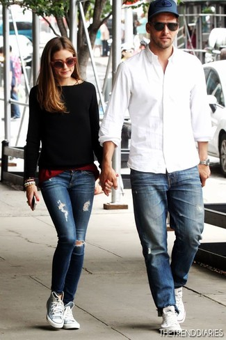 Olivia High Palermo Wearing SneakersBlue Grey Top Ripped Skinny DH9beW2IYE