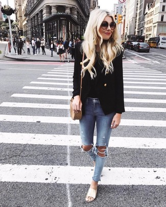 How to wear: gold leather flat sandals, light blue ripped skinny jeans, black tank, black double breasted blazer