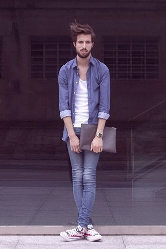 How to wear: white print low top sneakers, blue skinny jeans, white tank, blue long sleeve shirt