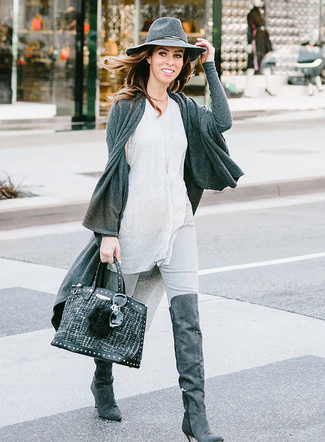 How to wear: charcoal suede over the knee boots, grey skinny jeans, grey tank, charcoal open cardigan