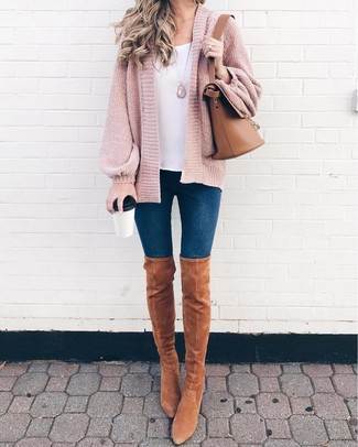 How to wear: tan suede over the knee boots, navy skinny jeans, white tank, pink knit open cardigan