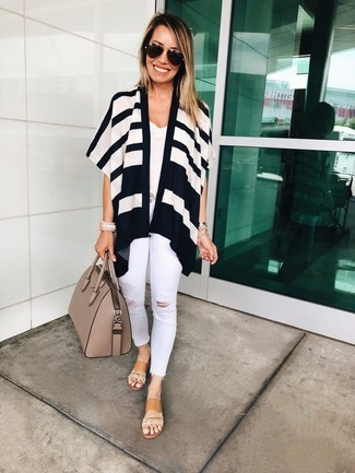 How to wear: tan leather flat sandals, white ripped skinny jeans, white lace tank, white and black horizontal striped open cardigan