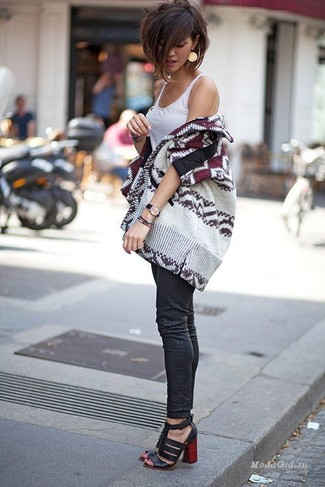 How to wear: black leather heeled sandals, black skinny jeans, white tank, beige print open cardigan