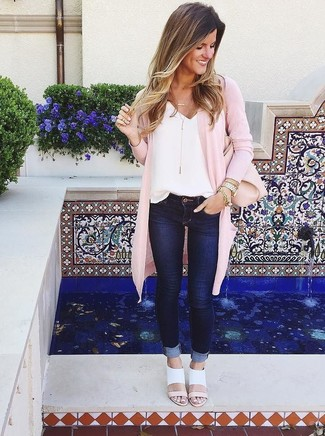 How to wear: white leather heeled sandals, navy skinny jeans, white silk tank, pink open cardigan