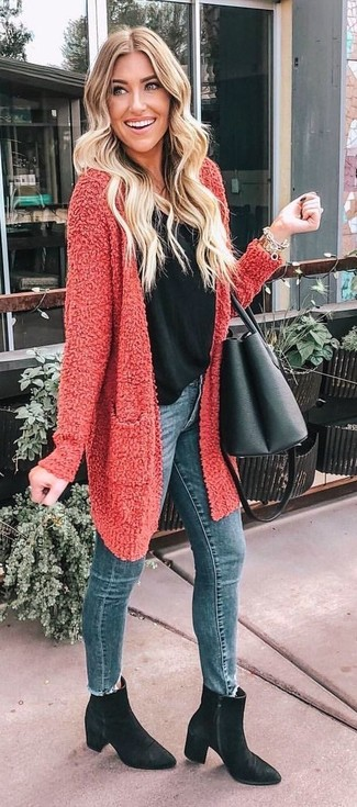 How to wear: black suede ankle boots, blue skinny jeans, black tank, red textured open cardigan