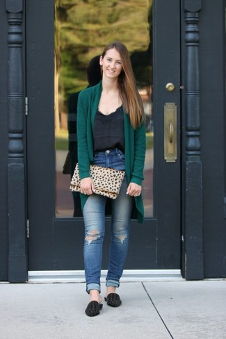 How to wear: black studded suede loafers, blue ripped skinny jeans, black silk tank, dark green open cardigan
