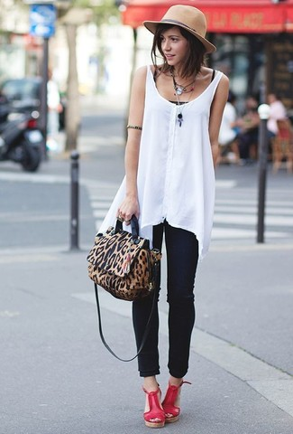How to wear: red leather wedge sandals, black skinny jeans, black tank, white chiffon sleeveless top