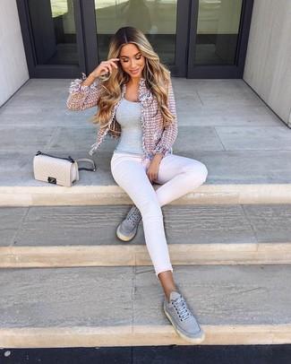 How to wear: grey canvas low top sneakers, white skinny jeans, grey tank, pink tweed jacket