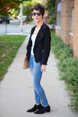 How to wear: black suede chelsea boots, blue skinny jeans, white tank, black tweed jacket