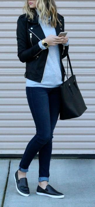 How to wear: black leather slip-on sneakers, navy skinny jeans, grey turtleneck, black wool biker jacket