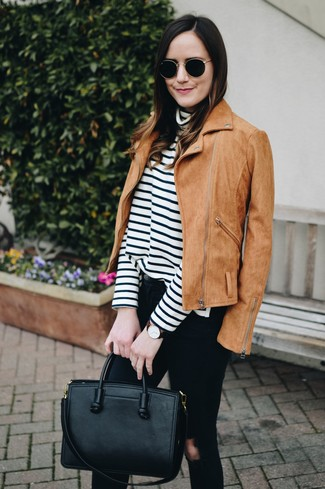 How to wear: black leather tote bag, black ripped skinny jeans, white and black horizontal striped turtleneck, tan suede biker jacket