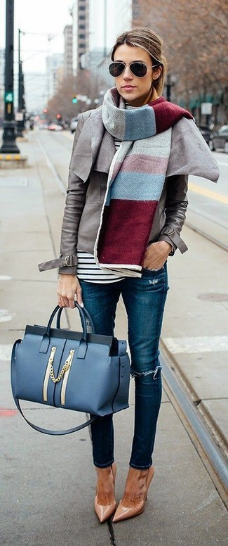 Women's Looks & Outfits: What To Wear In 2020: Opt for a grey leather biker jacket and blue ripped skinny jeans for a laid-back look with a modern twist. Tan leather pumps will take this look down a more elegant path.