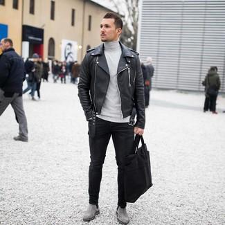 How to wear: grey suede chelsea boots, black skinny jeans, grey turtleneck, black leather biker jacket