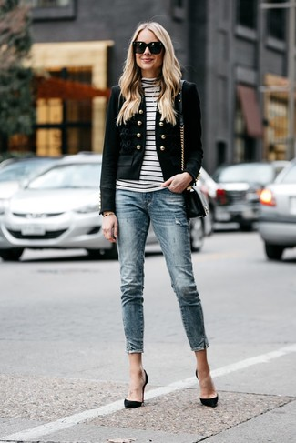 How to wear: black suede pumps, blue skinny jeans, white and black horizontal striped turtleneck, black embellished blazer
