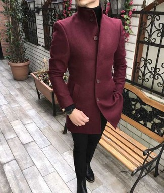 How to wear: black leather chelsea boots, black skinny jeans, black turtleneck, burgundy wool blazer