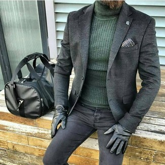 How to wear: black leather holdall, black skinny jeans, dark green turtleneck, charcoal wool blazer